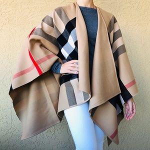 BURBERRY Charlotte Reversible Check Cape Poncho